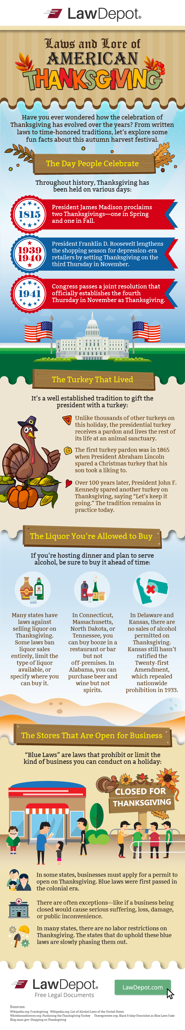 "Have you ever wondered how the celebration of Thanksgiving has evolved over the years? From written laws to time-honored traditions, let's explore some fun facts about this autumn harvest festival.  The Day People Celebrate Throughout history, Thanksgiving has been held on various days: 1815: President James Madison proclaims two Thanksgivings—one in spring and one in fall.  1939-1940: President Franklin D. Roosevelt lengthens the shopping season for depression-era retailers by setting Thanksgiving on the third Thursday in November. 1941: Congress passes a joint resolution that officially establishes the fourth Thursday in November as Thanksgiving.  The Turkey That Lived It's a well-established tradition to gift the president with a turkey:  Unlike thousands of other turkeys on this holiday, the presidential turkey receives a pardon and lives the rest of its life at an animal sanctuary. The first turkey pardon was in 1865 when President Abraham Lincoln spared a Christmas turkey that his son took a liking to. Over 100 years later, President John F. Kennedy spared another turkey on Thanksgiving, saying ""Let's keep it going."" The tradition remains in practice today. The Liquor You're Allowed to Buy If you're hosting dinner and plan to serve alcohol, be sure to buy it ahead of time: Many states have laws against selling liquor on Thanksgiving. Some laws ban liquor sales entirely, limit the type of liquor available, or specify where you can buy it. In Connecticut, Massachusetts, North Dakota, or Tennessee, you can buy booze in a restaurant or bar but not off-premises. In Alabama, you can purchase beer and wine but not spirits. In Delaware and Kansas,there are no sales of alcohol permitted on Thanksgiving. Kansas still hasn't ratified the Twenty-first Amendment, which repealed nationwide prohibition in 1933. The Stores That Are Open for Business ""Blue Laws"" are laws that prohibit or limit the kind of business you can conduct on a holiday: In some states, businesses must apply for a permit to open on Thanksgiving. Blue laws were first passed in the colonial era.  There are often exceptions—like if a business being closed would cause serious suffering, loss, damage, or public inconvenience.  In many states, there are no labor restrictions on Thanksgiving. The states that do uphold these blue laws are slowly phasing them out."