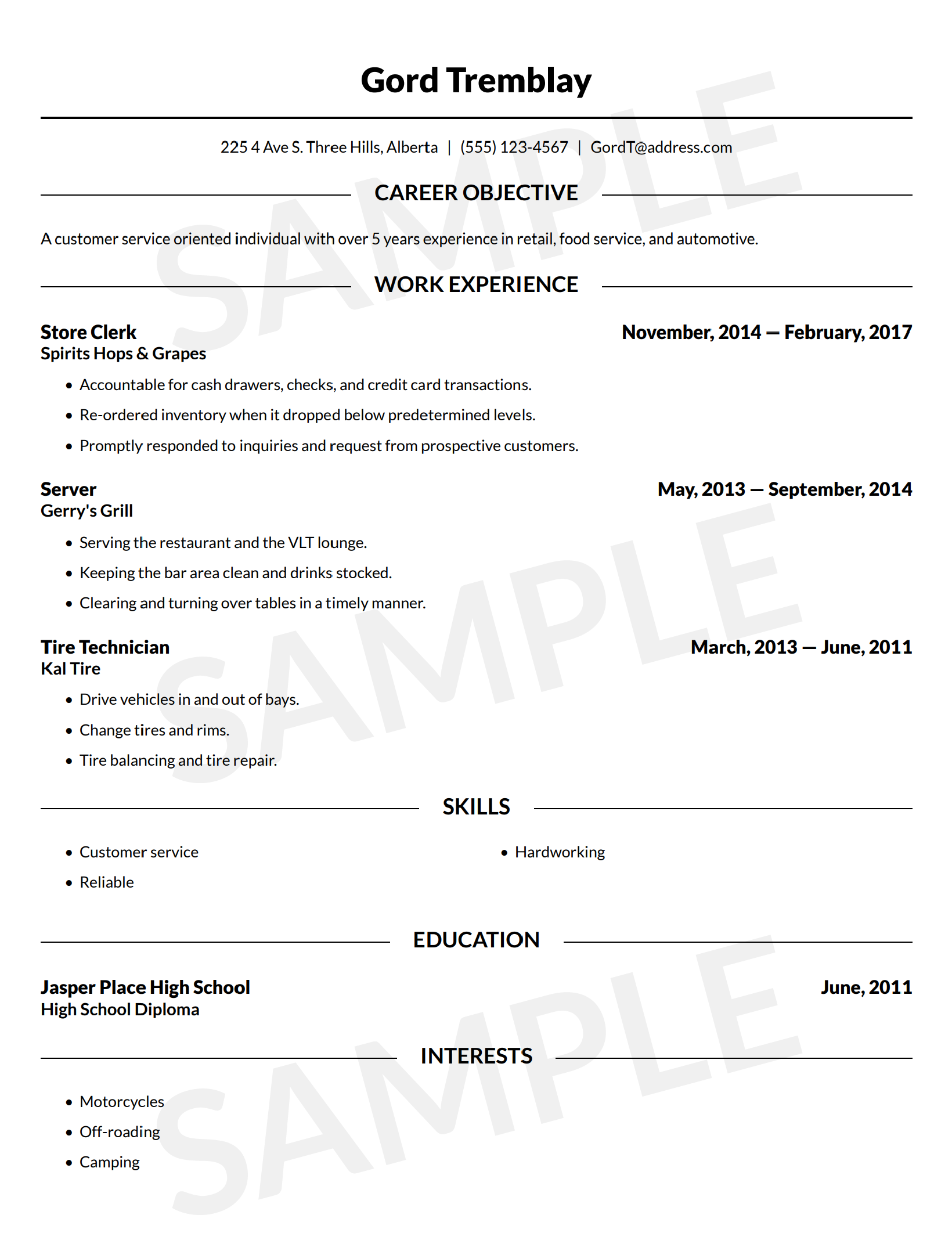 Resume Builder Free Online Resume Template Canada Lawdepot