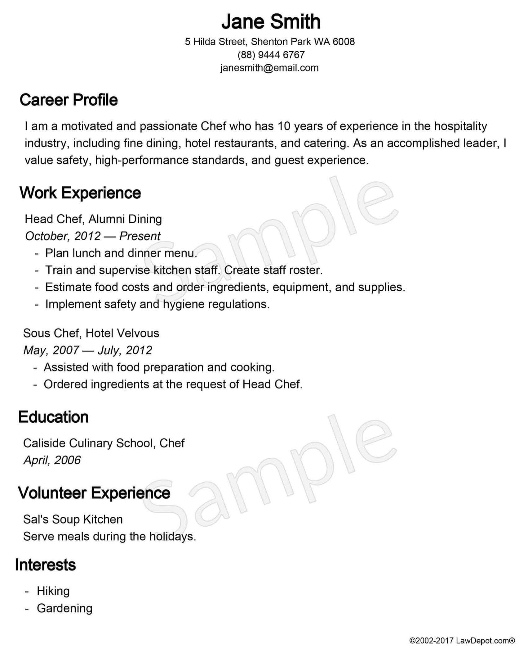 sample resume chef food runner resume sample download for doctors food runner resume sample builder free