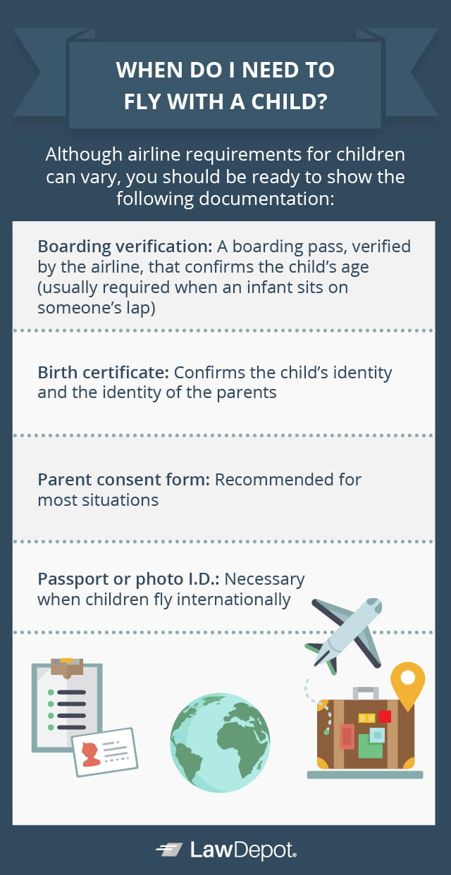 Although airline requirements for children can vary, you should be ready to show the following documentation: