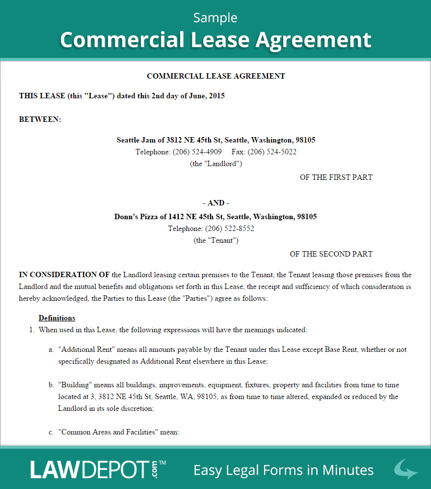 commercial lease agreement free commercial lease form us lawdepot