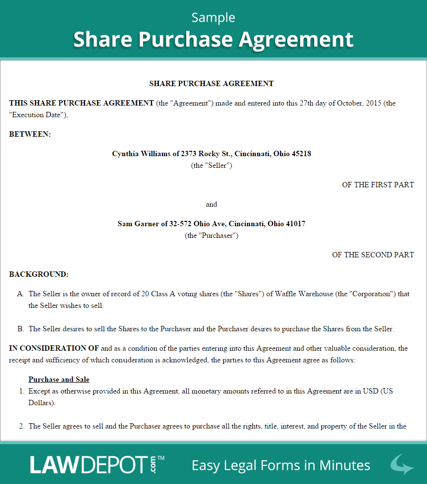 Share purchase agreement template us lawdepot for Shareholder buyout agreement template